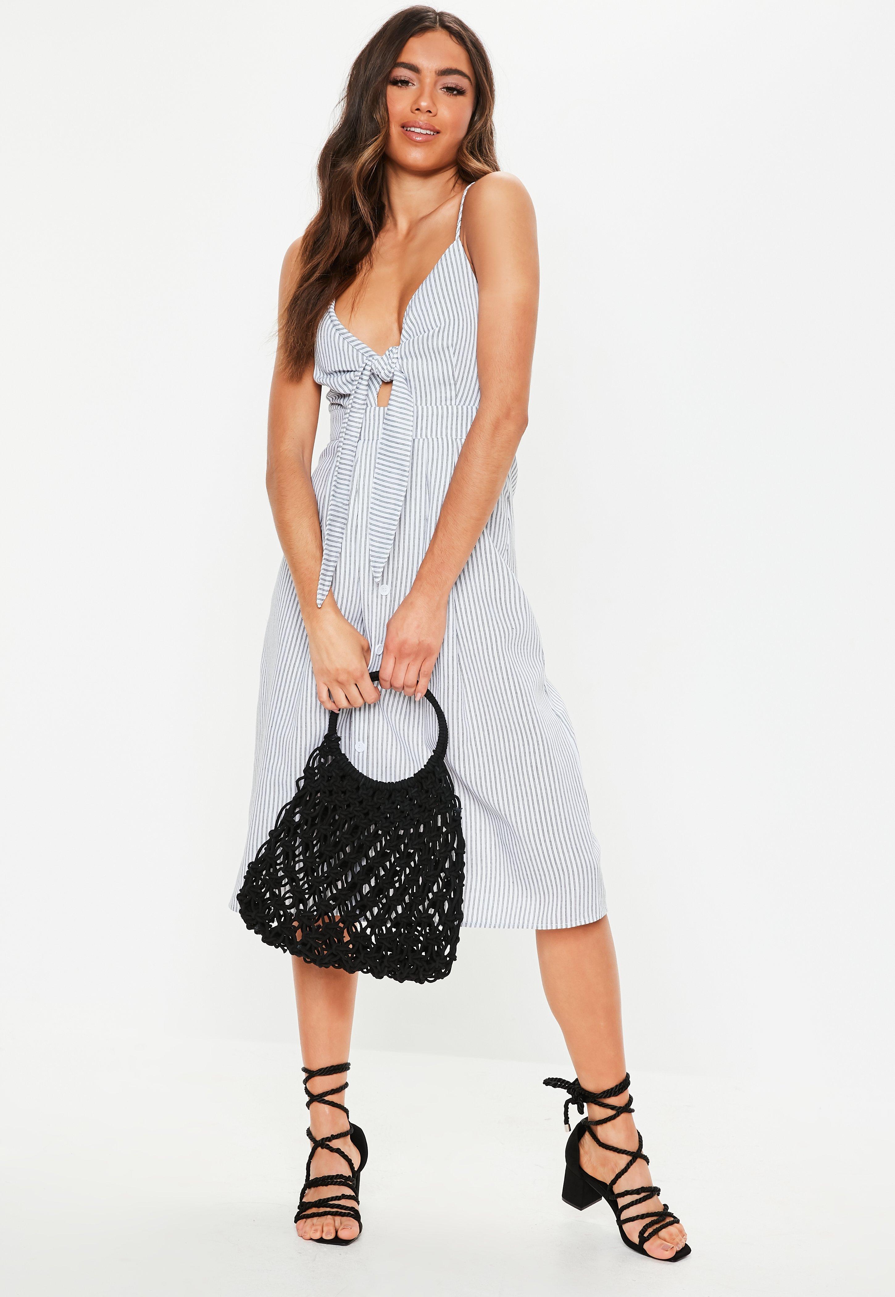 a91d471f White Tie Front Button Stripe Midi Dress | Missguided