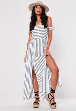 8dfdb73ba41d ... White Stripe Bardot Button Down Maxi Dress