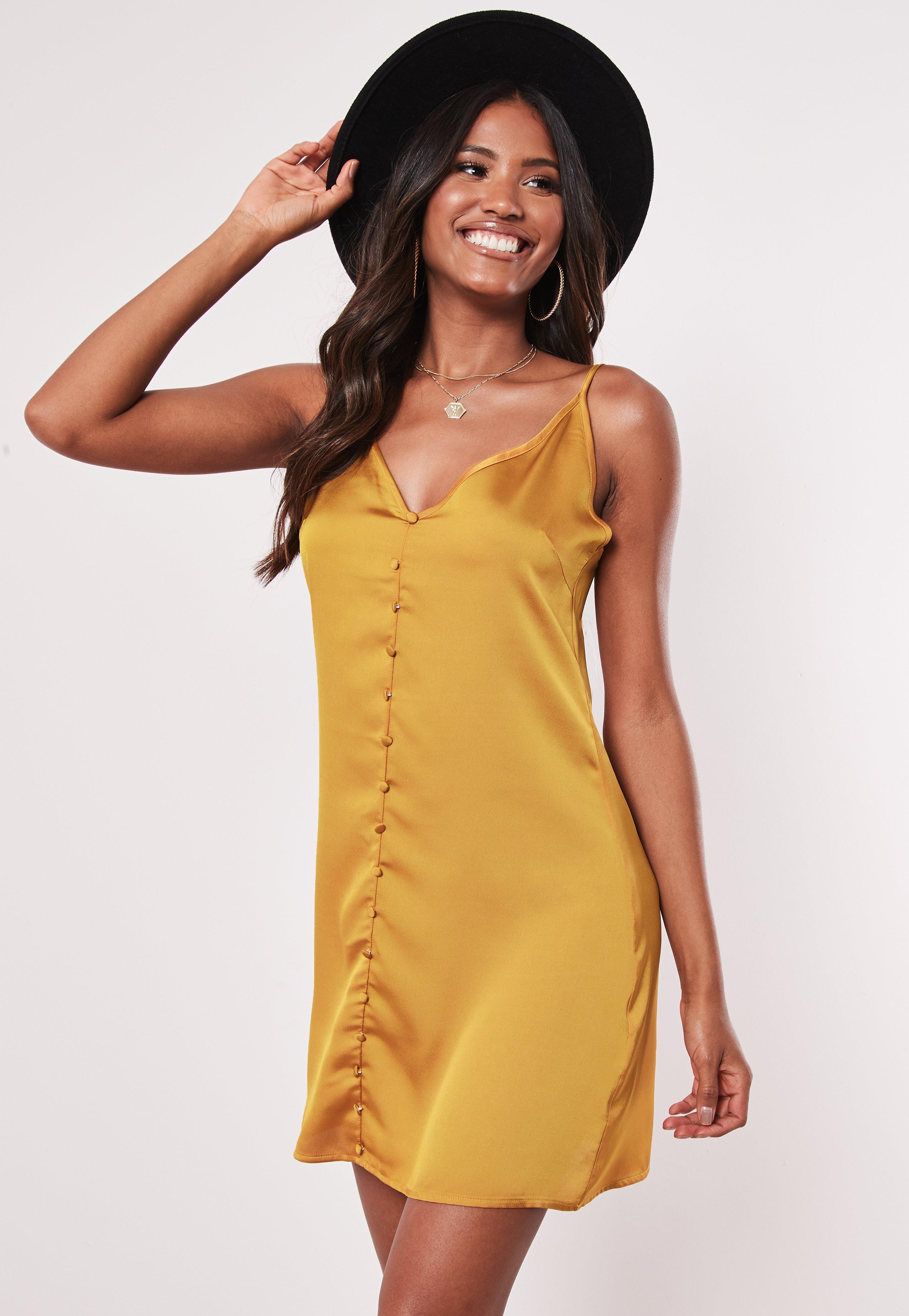 796f8a2b6af Mustard Cami Button Through Slip Dress | Missguided