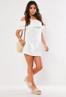 4058ae3916dd Black Frill Detail Shift Dress · White Poplin Bardot Frill Mini Dress