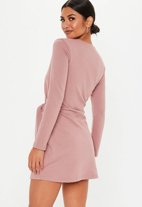 Pink Tie Waist Sweatshirt Dress. Previous Next 64b58b097