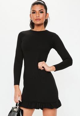 8e4e5dec0d Black Frill Detail Shift Dress