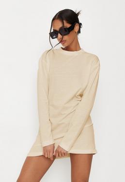 67e5667c6a Nude Long Sleeve T Shirt Dress