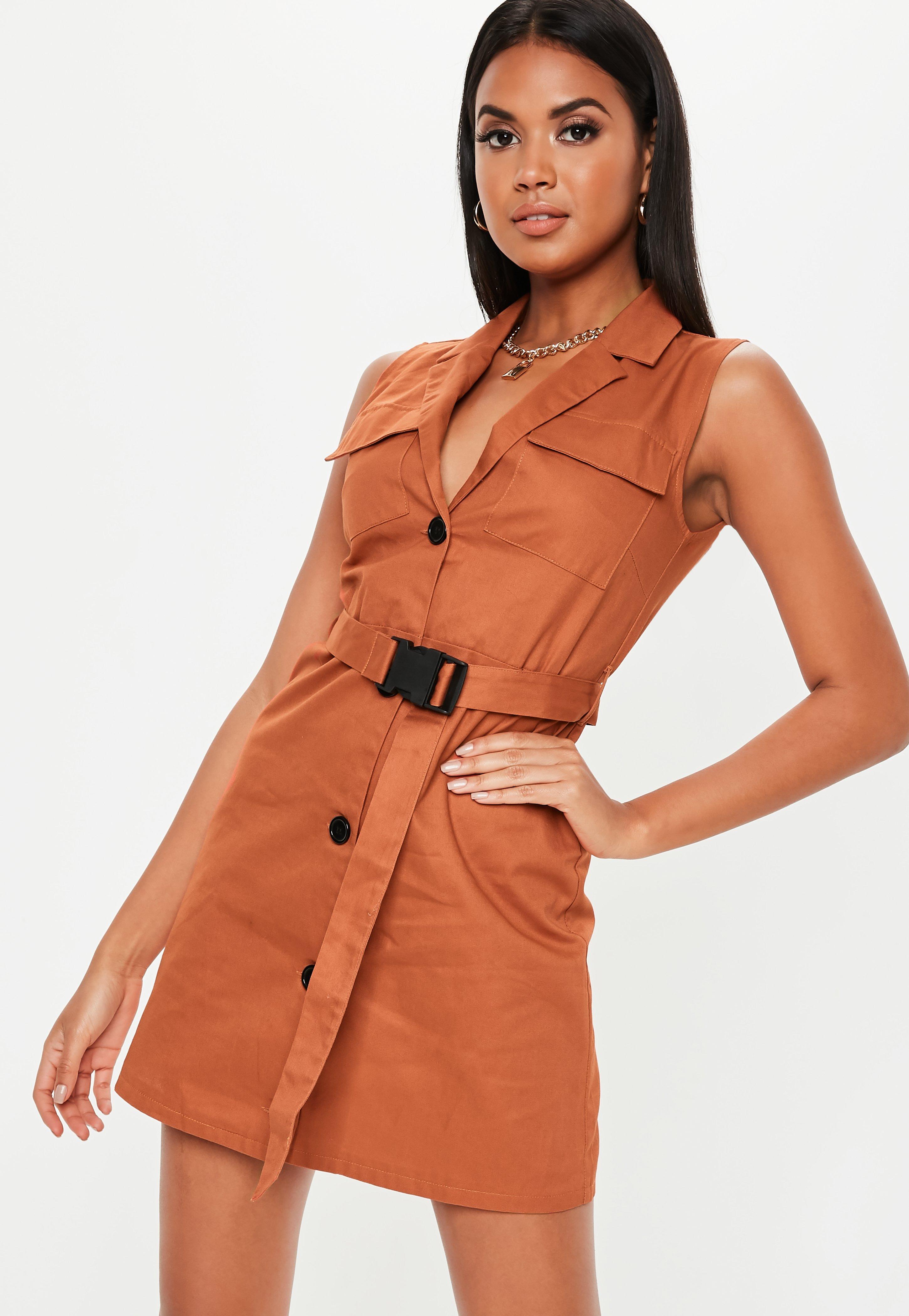 11beb3930e11ec Rust Sleeveless Belted Blazer Dress