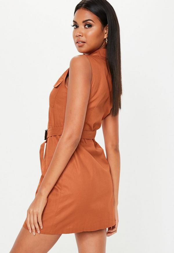 07edf1a0c31179 ... Rust Sleeveless Belted Blazer Dress. Previous Next