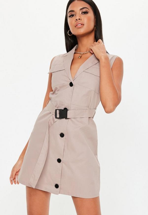 04f622b23a5 White Sleeveless Stretch Crepe Blazer Dress.  44.00 · Stone Sleeveless  Belted Blazer Dress