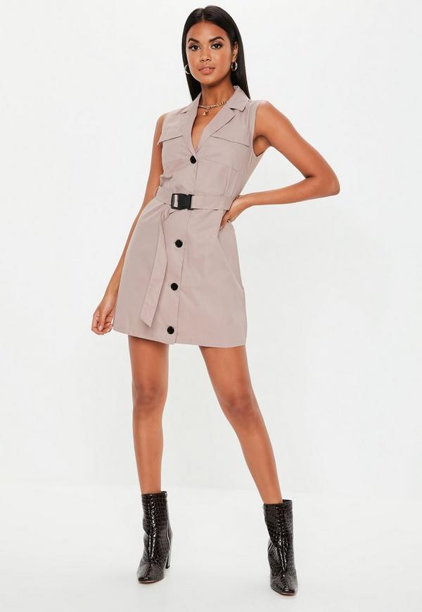 8837e2178479aa Stone Sleeveless Belted Blazer Dress. Previous Next