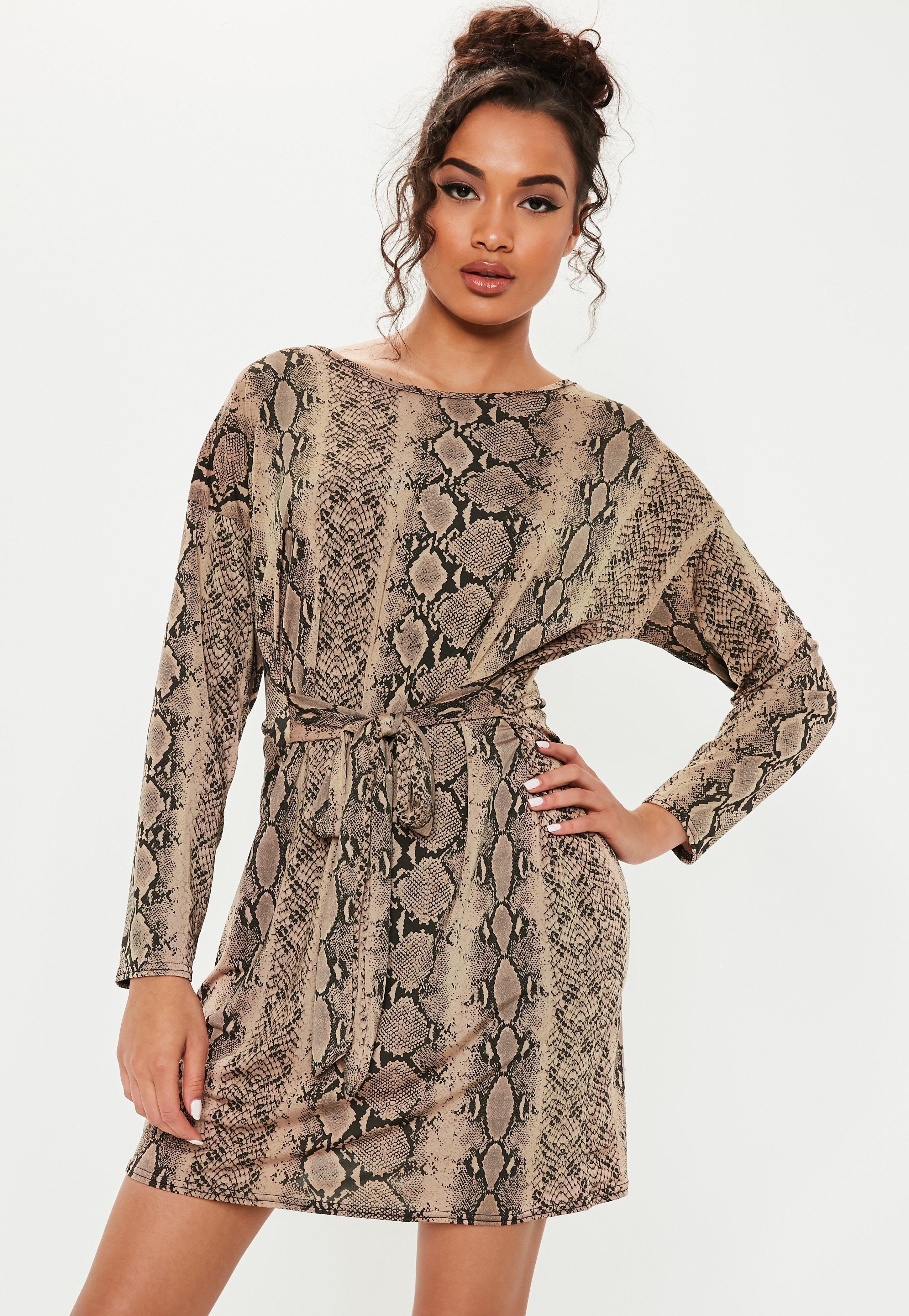 fedcfc047d Brown Tie Waist Snake Print T Shirt Dress