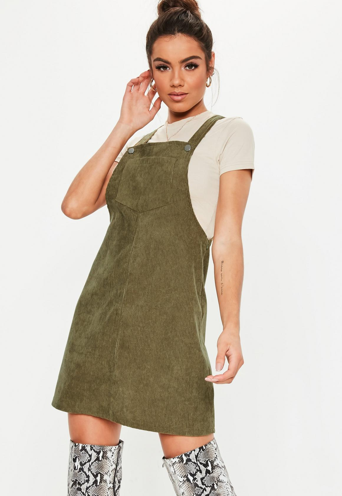 low price sale forefront of the times temperament shoes Khaki Cord Pinafore Dress