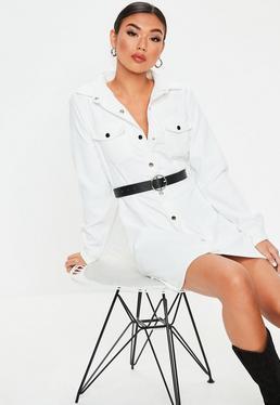 White Cord Skater Shirt Dress White Cord Skater Shirt Dress d02ceab21