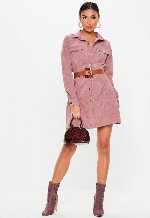 e72518eb8e Pink Cord Skater Shirt Dress. Previous Next