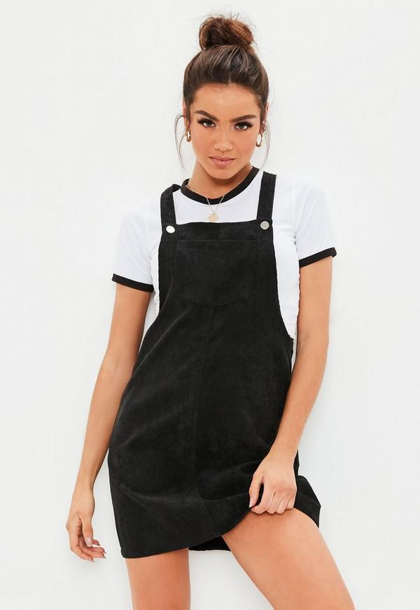 Black Cord Pinafore Dress Missguided