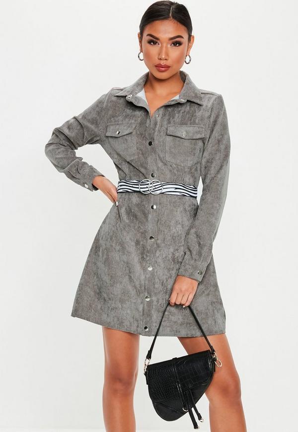 d0a39c607b Grey Cord Skater Shirt Dress