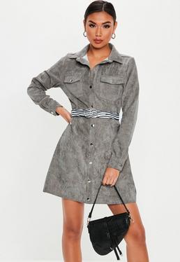 Robe-chemise grise velours côtelé et boutons pressions 907ea6e5b930