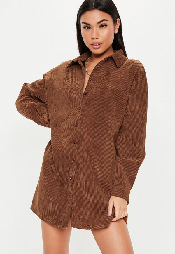 7e91be3165b3 Tan Oversized Cord Shirt Dress