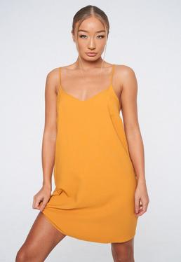 82594bf85c Mustard Crepe Cami Shift Dress