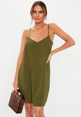 3ccba15712d ... Khaki Crepe Cami Shift Dress