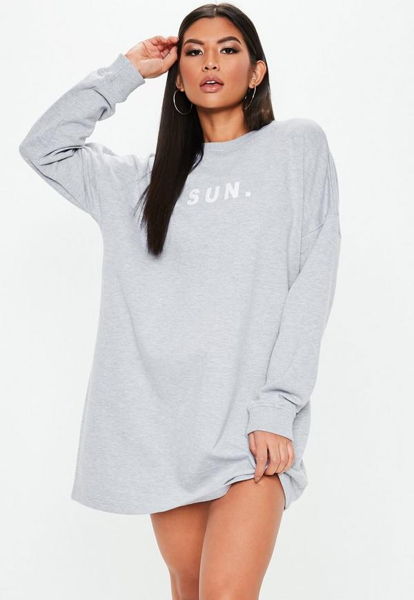 Grey Oversized Sunday Sweater Dress by Missguided