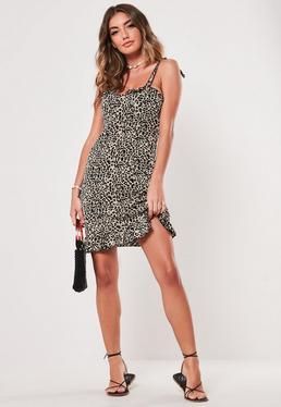 4b7f95adac ... Brown Leopard Print Bust Cup Shift Dress