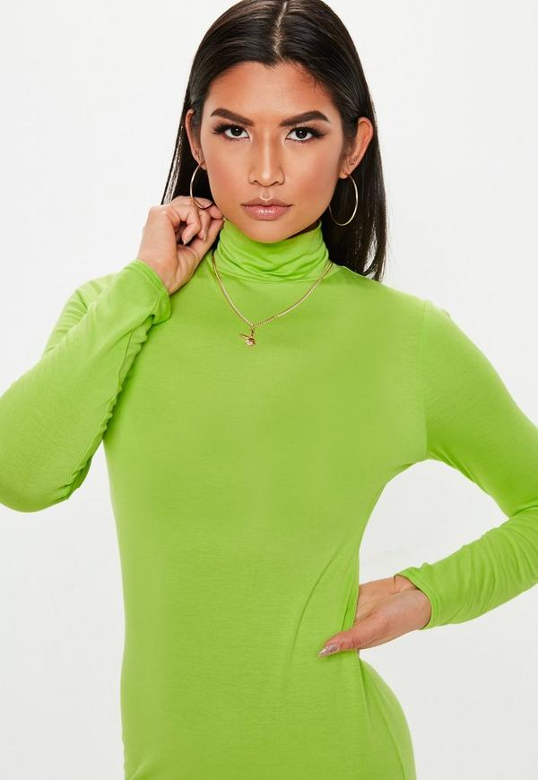 Sale neon dress bodycon green neck roll the iconic online