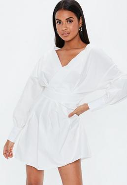 4b0fbbc65bd8 ... White V Neck Ruched Waist Dress