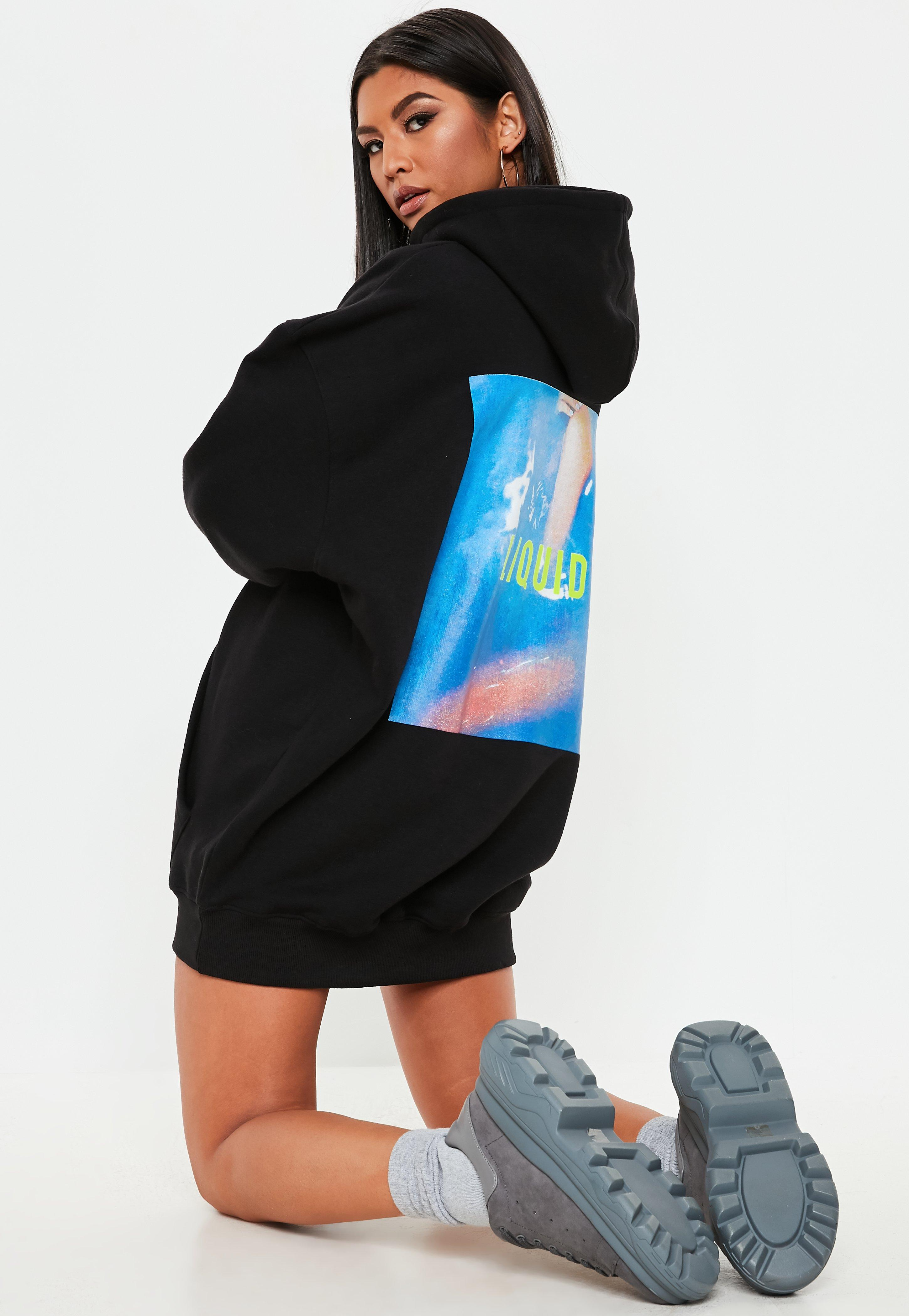ec332dc9944 Black Oversized Graphic Hooded Sweater Dress