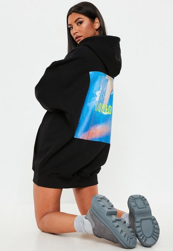 b2fa8c12e2c3 Black Oversized Graphic Hooded Sweater Dress