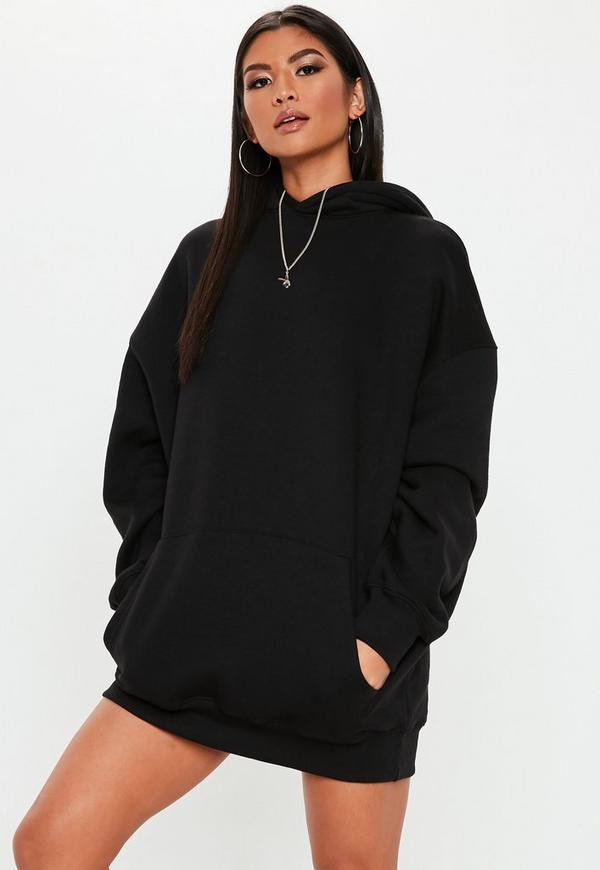 Black Oversized Graphic Hooded Sweater Dress Missguided
