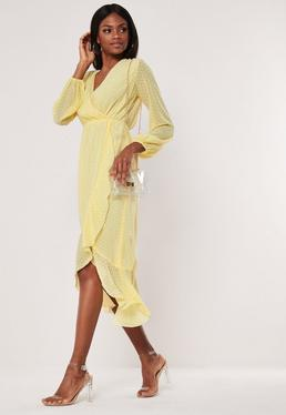 bee4fdf79566 Cream Gingham Wrap Over Midi Dress · Yellow Dobby Asymmetric Midi Dress