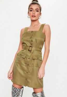 bd4f8021ee96 ... Khaki Strappy Utility Dress