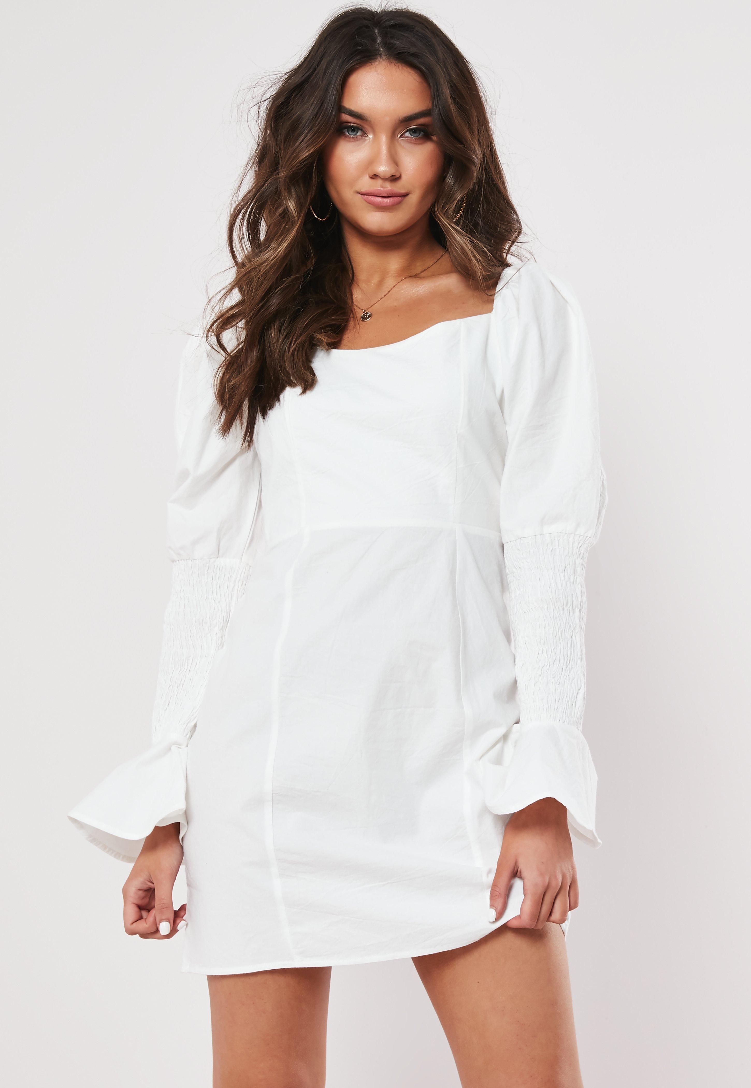 b078a8a79c0 White Poplin Shirring Sleeve A Line Dress   Missguided