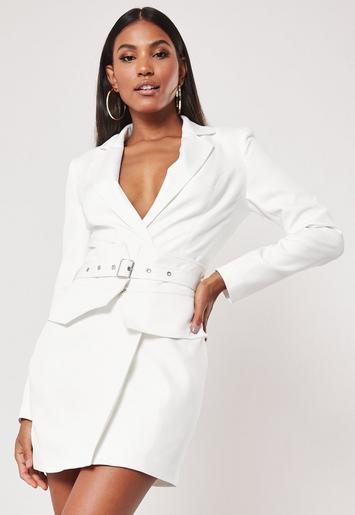 white-belted-waist-blazer-dress by missguided
