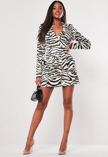 White Zebra Satin Blazer Dress Missguided