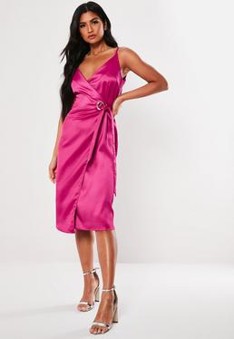 86ea2b57a2ebb ... Fuchsia Satin Cami Wrap Midi Dress