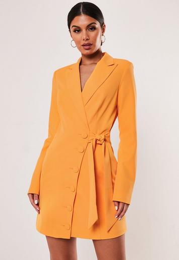 Orange Asymmetric Blazer Dress by Missguided