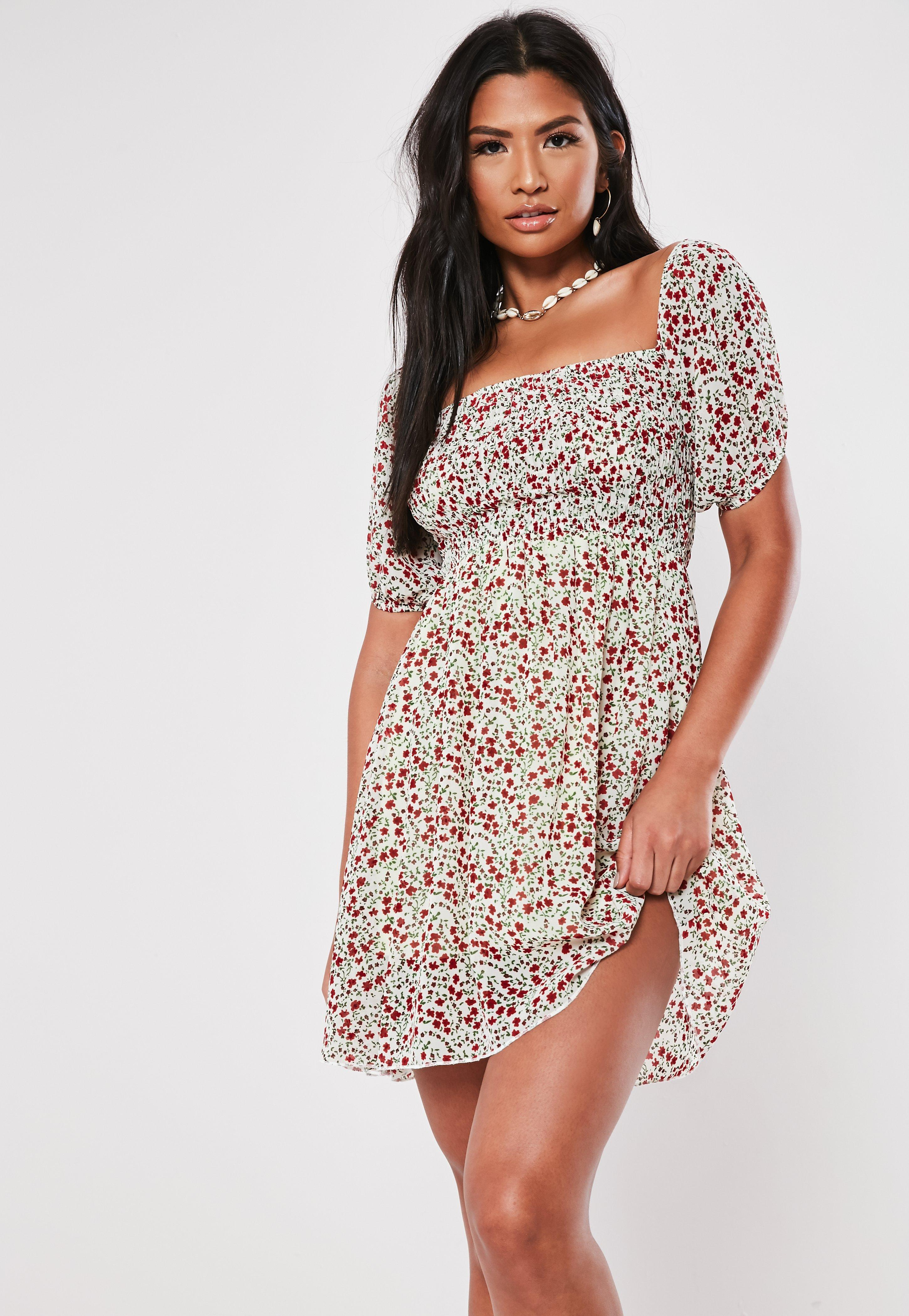 e612a0e2f6e15 White Ditsy Floral Milkmaid Mini Dress | Missguided