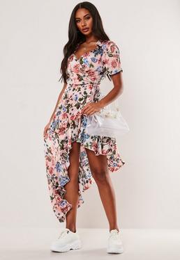 c089b18852 Rust Polka Dot High Low Wrap Midi Dress · Pink Floral Frill Asymmetric Midi  Dress