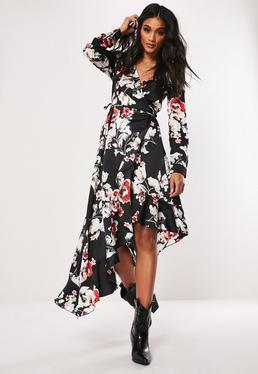df8e03baade5 Blue Floral Bardot Shirring Tea Mini Dress  Black Floral Asymmetric Wrap  Midi Dress