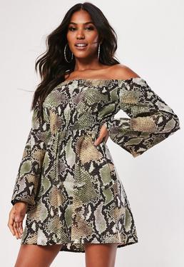 da888ce2701 ... Brown Snake Print Bardot Flare Sleeve Satin Dress