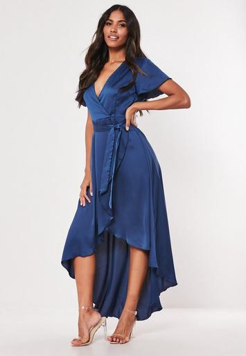 navy-satin-wrap-front-ruffle-midi-dress by missguided