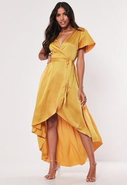 de8f0d61d50c Mustard Satin Wrap Front Ruffle Midi Dress