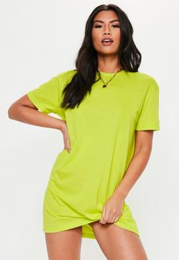 9eaf1e5d5094 Neon Lime Basic T Shirt Dress