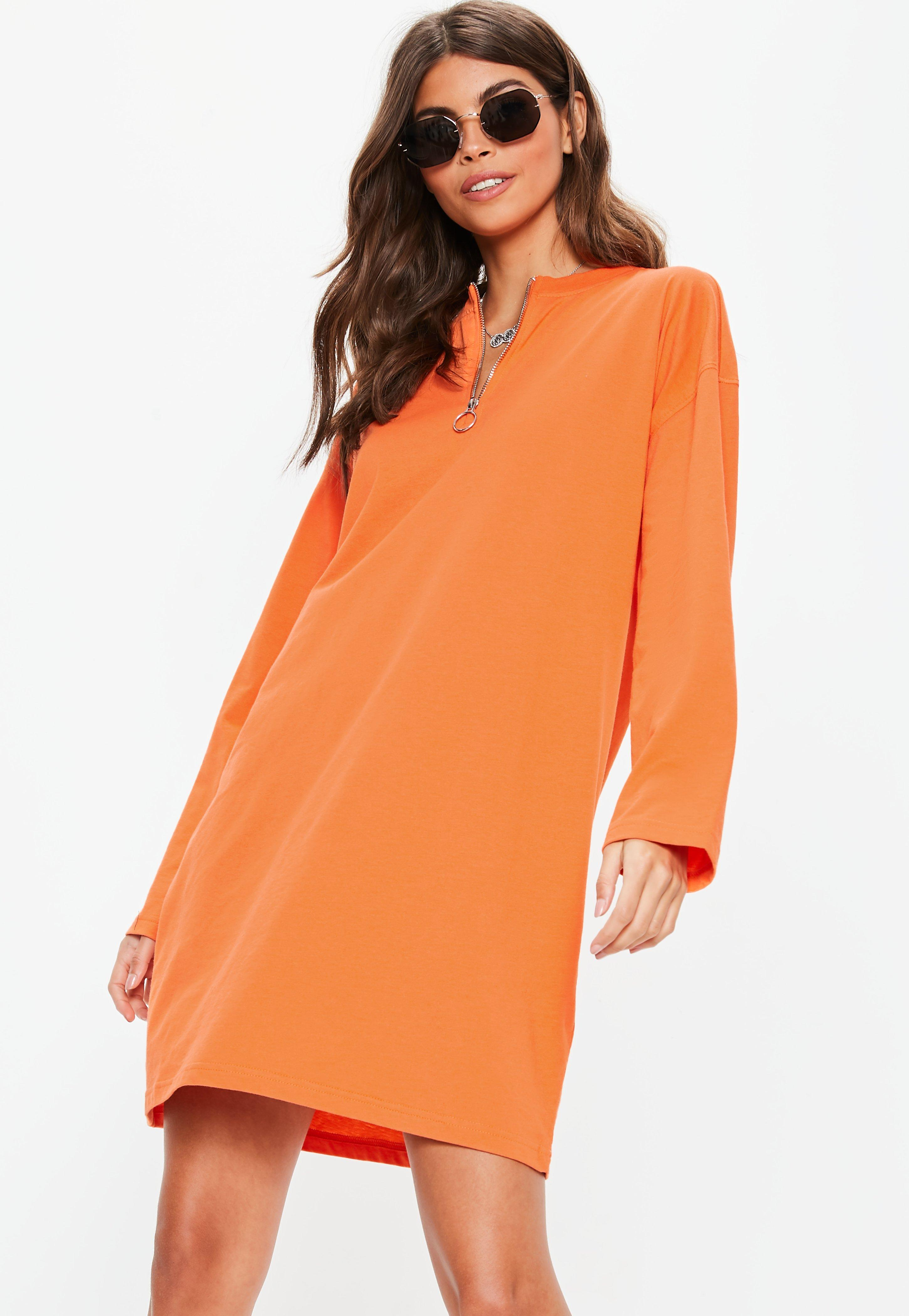 c9d4f823dc Orange Long Sleeve Ring Zip Oversized T Shirt Dress