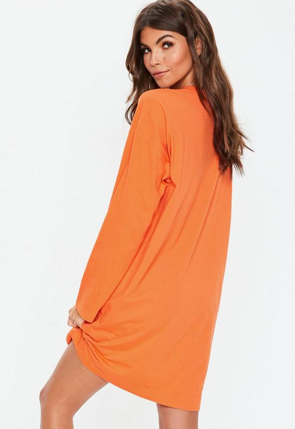 77f63f5347 Orange Long Sleeve Ring Zip Oversized T Shirt Dress. Previous Next
