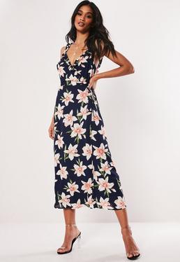 924a7d4508 Navy Floral Frill Cami Wrap Midi Dress