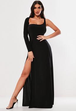 4d70e31352490 Black Slinky One Shoulder Split Maxi Dress