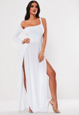 4ab8b8ff809 ... White Slinky One Shoulder Split Maxi Dress