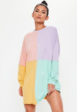 2b660c5605 Pink Oversized Colorblock Sweater Dress