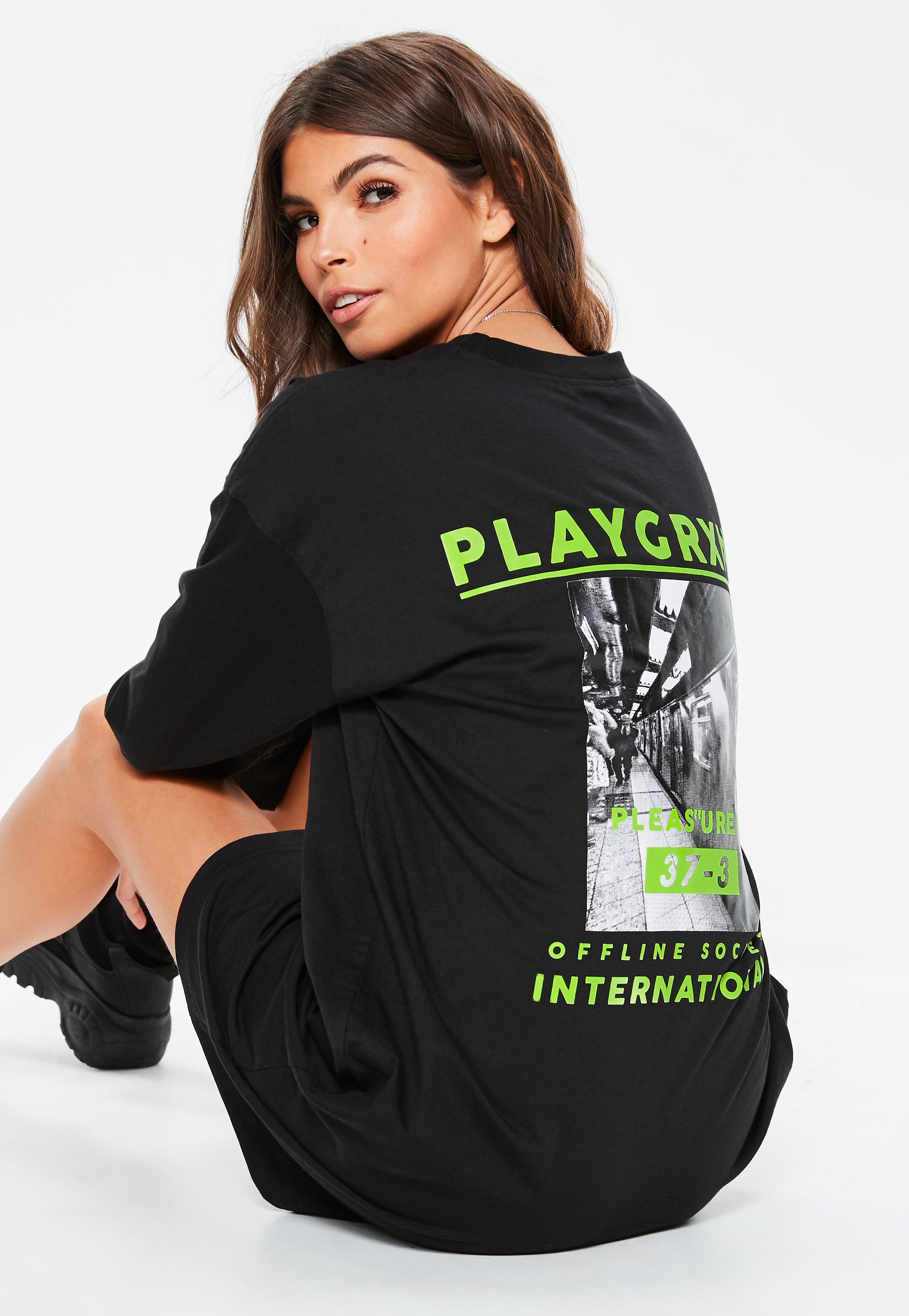 ede921ce2d0f Black Playgrxnd Long Oversized T Shirt Dress