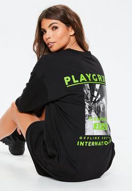 e91566c0527 ... Black Playgrxnd Long Oversized T Shirt Dress